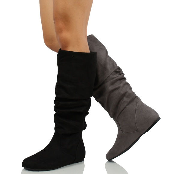Black Faux Suede Slouchy Knee High Flat